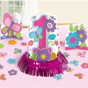 Tischdeko-Set zum 1. Kindergeburtstag, Maedchen