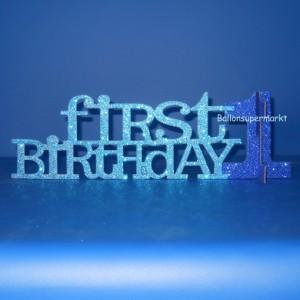 Tischstaender zum ersten Geburtstag, Junge, Blau