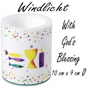 Windlicht With God´s Blessing zur Kommunion und Konfirmation
