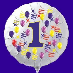 Zahlen-Luftballon aus Folie, Zahl 1, zu Geburtstag und Jubiläum