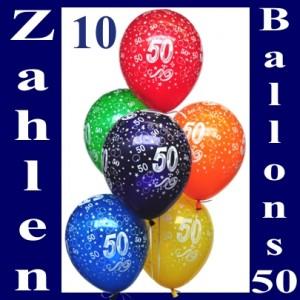 Luftballons mit der Zahl 50 zum 50. Geburtstag, 10 Stück