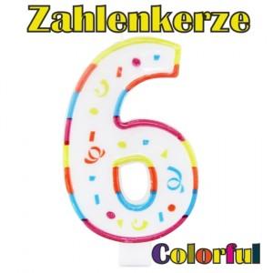 Zahlenkerze Zahl 6, Colorful Candle, zu Geburtstag, Jubiläum und Kindergeburtstag