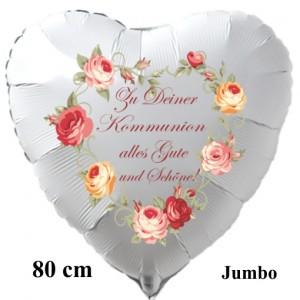 Zu Deiner Kommunion alles Gute und Schöne! Großer Herzluftballon in Weiß, Vintage-2, mit Helium