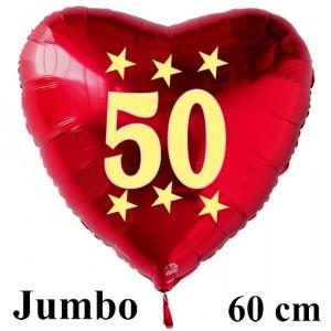 Großer roter Herzluftballon in Rot mit Ballongas Helium zum 50. Geburtstag, Zahl 50, Stars