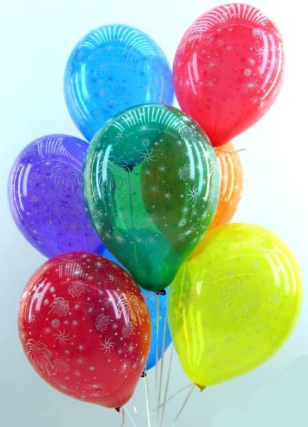 Dekoration zu Silvester mit Luftballons Feuerwerk