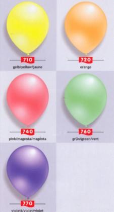 Luftballons in Neonfarben, Farben der Luftballons