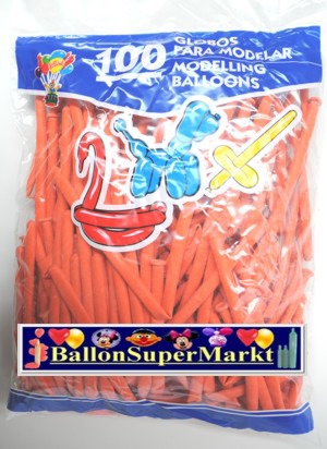Modellierballons, Luftballons zum Modellieren, orange-100 Stück
