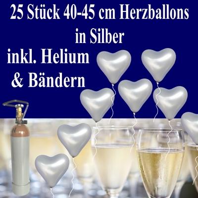 Silberne Herzluftballons zur Silberhochzeit, 25 Luftballons in Herzform mit Ballongas-Heliumflasche zur Dekoration der Silbernen Hochzeit