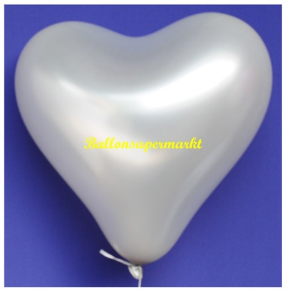 Herzluftballon, 40 bis 45 cm, Silber
