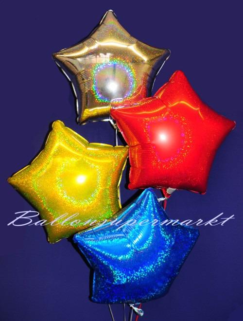 Silvesterdeko-Bukett-aus-Holo-Luftballons-Sterne