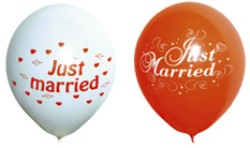 Luftballons Hochzeit: Just Married