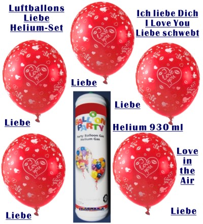 ballonsupermarkt luftballons liebe helium set 6 ballons liebe mini helium. Black Bedroom Furniture Sets. Home Design Ideas