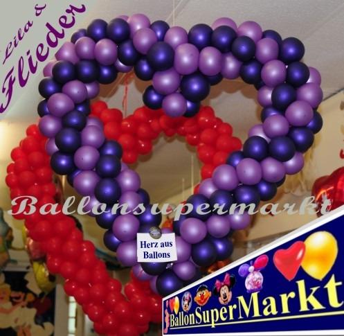 Hochzeit-Dekoration-Herz-aus-Luftballons-Lila-Flieder-vom-Ballonsupermarkt