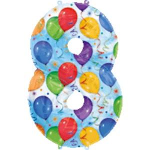 Folienballons Jubiläumszahlen und Geburtstagszahlen: Ballon Zahl 8