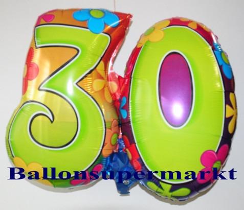 Geburtstag-30-Flower-Power-Luftballon-aus-Folie