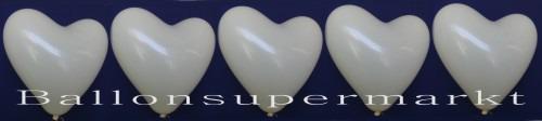 Herzluftballons in Elfenbeinfarben
