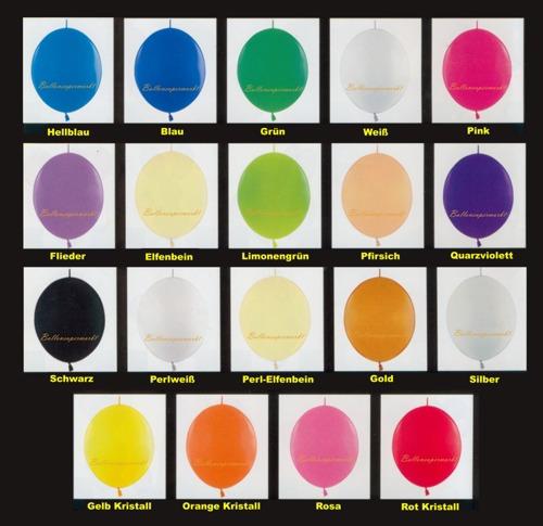 Farben der Kettenluftballons, Girlandenballons Farbskala