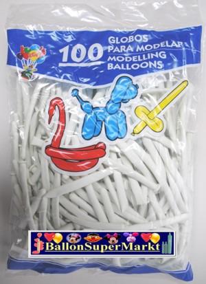 Modellierballons, Luftballons zum Modellieren, weiß-100 Stück