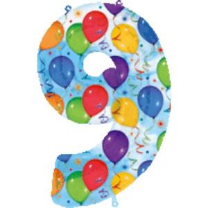 Folienballons Jubiläumszahlen und Geburtstagszahlen: Ballon Zahl 9