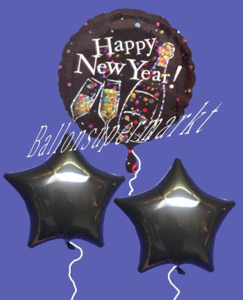 Silvestergrüße mit Luftballons