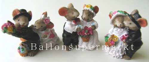 Tischdekoration Hochzeit, Pärchen Hochzeitsmäuse