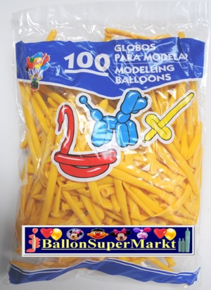 Modellierballons, Luftballons zum Modellieren, gelb-100 Stück