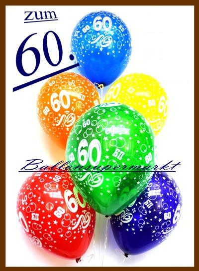 Ballonsupermarkt zum 60 geburtstag 100 luftballons mit helium inkl versand - 60 geburtstag dekoration ...