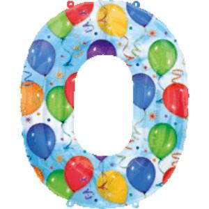 Folienballons Jubiläumszahlen und Geburtstagszahlen: Ballon Zahl 0