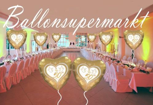 Saaldekoration-Goldene-Hochzeit-Luftballons