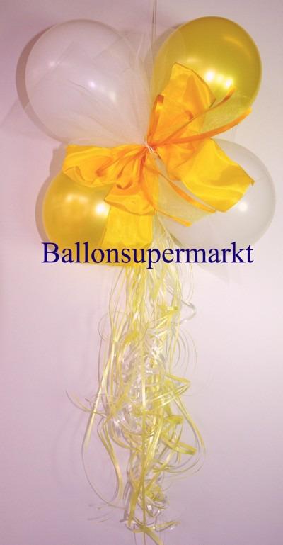 Mini-Luftballons-Dekoration-mit-Zierschleife-Hochzeit-Liebe-Gelb-Weiss