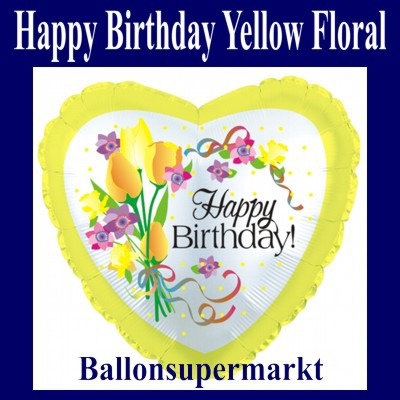 Geburtstags-Luftballon-Happy-Birthday-Gelbe-Blumen