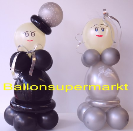 hochzeitsdeko hochzeitspaar aus luftballons silberhochzeit ballonsupermarkt. Black Bedroom Furniture Sets. Home Design Ideas