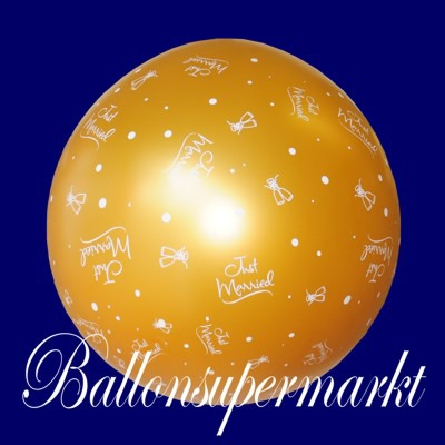 Riesiger-Hochzeitsballon-in-Gold-Just-Married