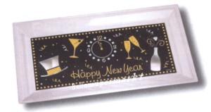 Silvester Dekoration, Tischdekoration, Tablett, Happy New Year