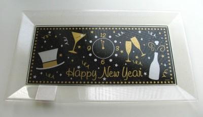 Silvester, Tischdekoration, Tablett: Happy New Year