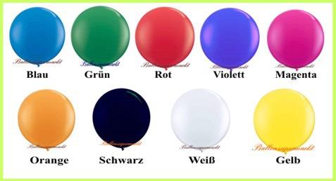 Riesenballons, 250er, Farben der riesigen Luftballons