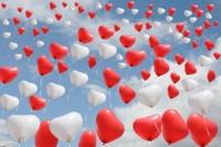Postkarten-Ballonflug-Hochzeit-Herzluftballons