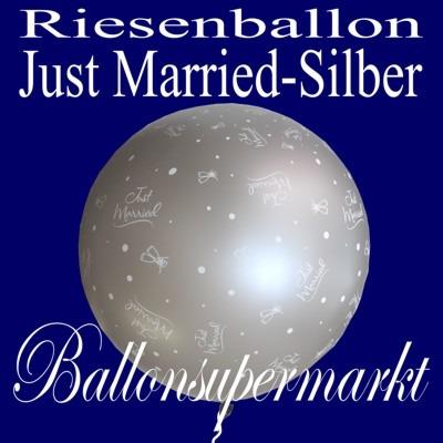 Riesenluftballon-Hochzeit-Just-Married-Silber