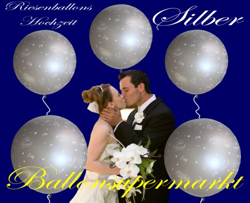 Riesige-Hochzeitsballons-in-Silber-Just-Married