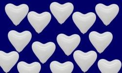 Herzballons Hochzeit in Weiß