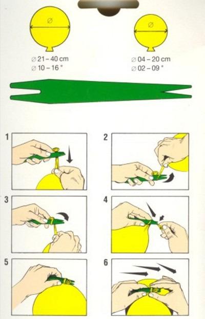 Ballonknoter, Luftballons knoten, Anleitung zum Knoten und Verschließen der Latex-Luftballone