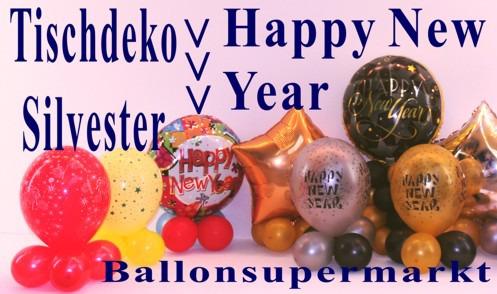 Tischdekoration-bunter-Luftballon-Silvester