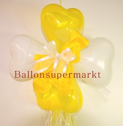 Ballondekoration-Herzballons-mit-Ringelband-und-Zierschleife-in-Weiss-Gelb