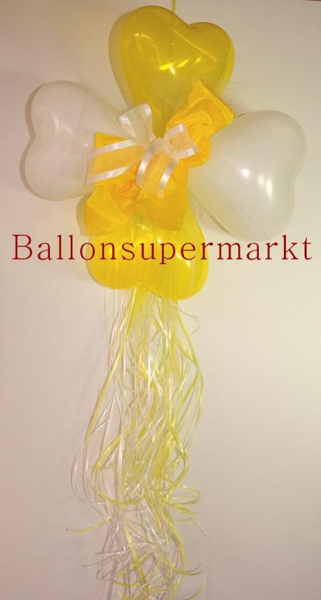Dekoration-aus-Herzluftballons-Zierschleife-Farben-Weiss-Gelb