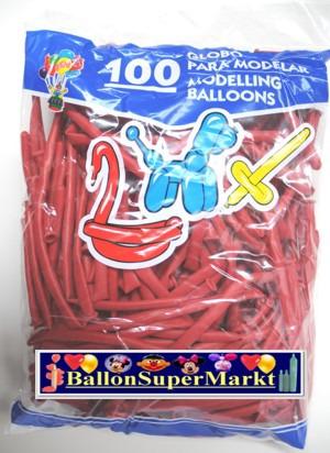 Modellierballons, Luftballons zum Modellieren, rot-100 Stück