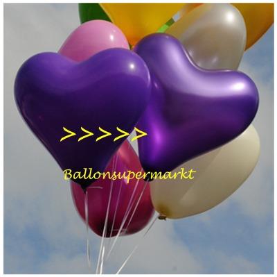Herzluftballon, 40 bis 45 cm, Violett Metallic
