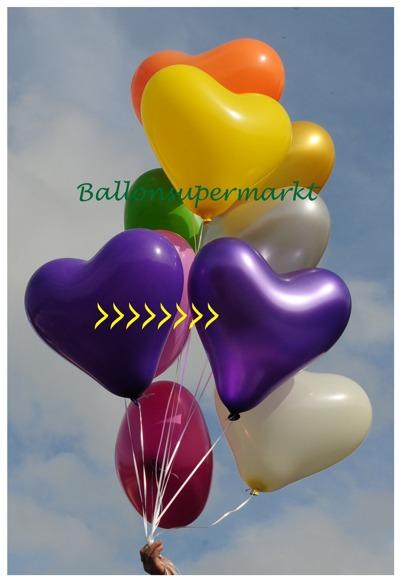 herzluftballon violett metallic groß, 40-45 cm, mit Helium