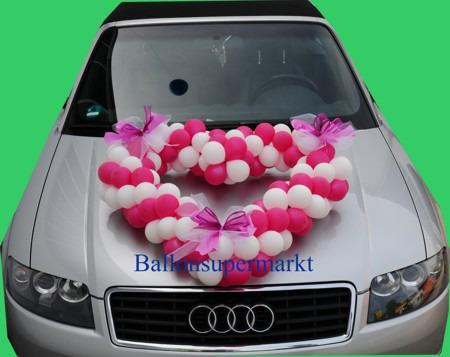 Hochzeitsauto-Dekoration-Luftballons-Rot-Weiss