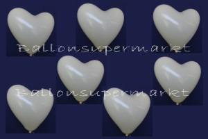 Herzluftballons in Elfenbein