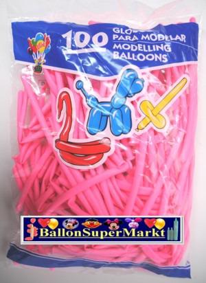 Modellierballons, Luftballons zum Modellieren, pink-100 Stück